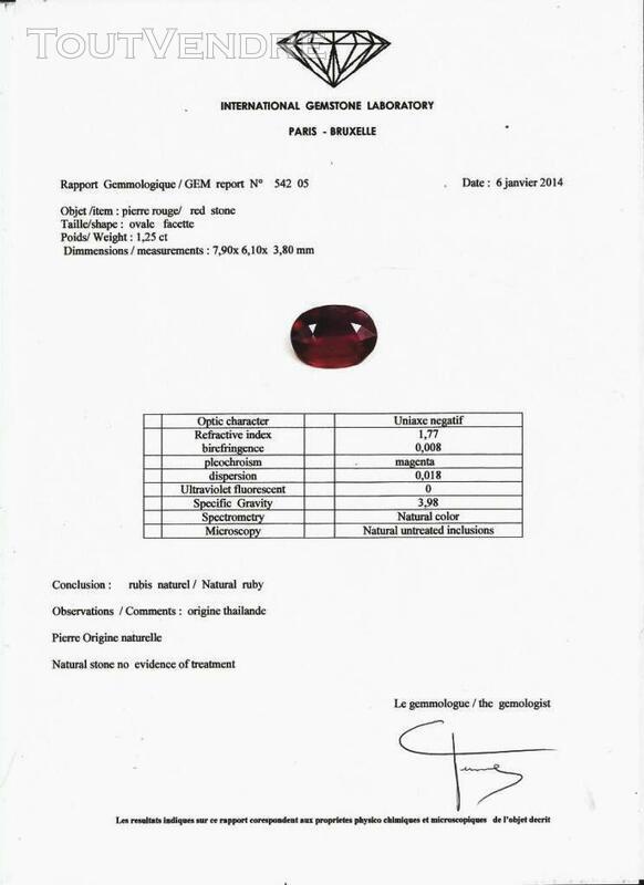 RUBIS  NATUREL 1,25 ct   avec certificat 370026232