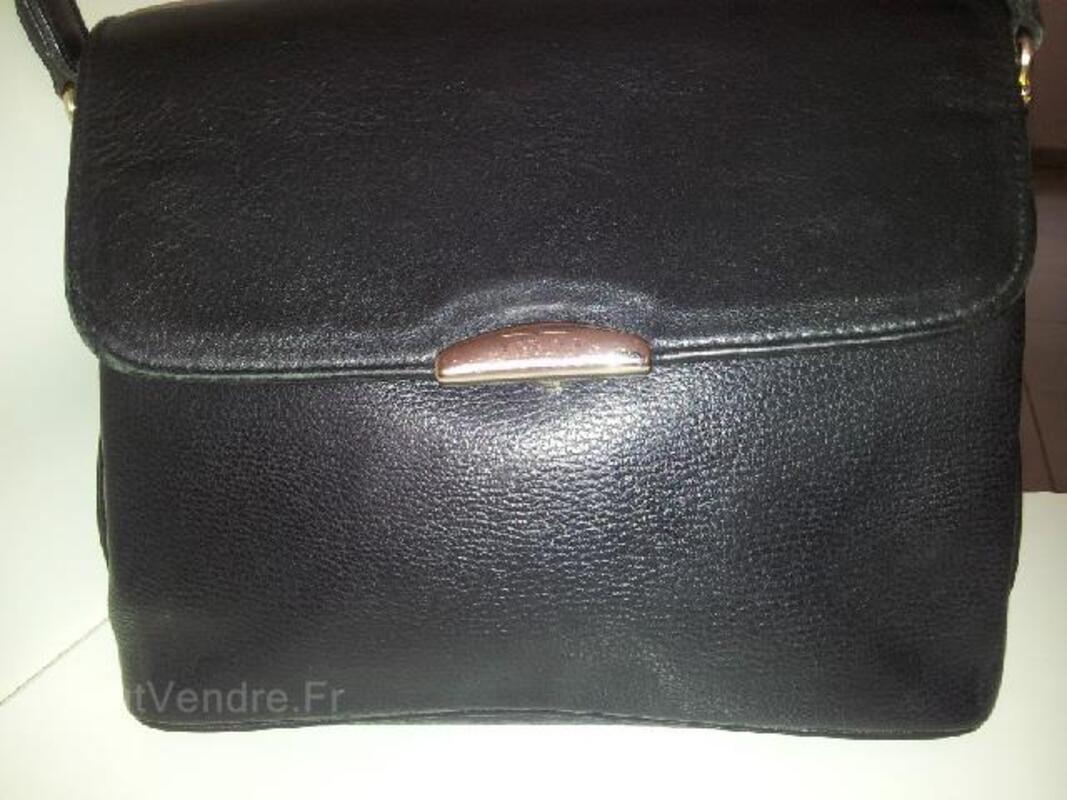 Sac en cuir noir marque TEXIER authentique 94093984