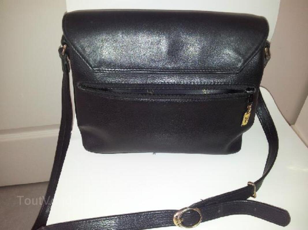 Sac en cuir noir marque TEXIER authentique 94093985