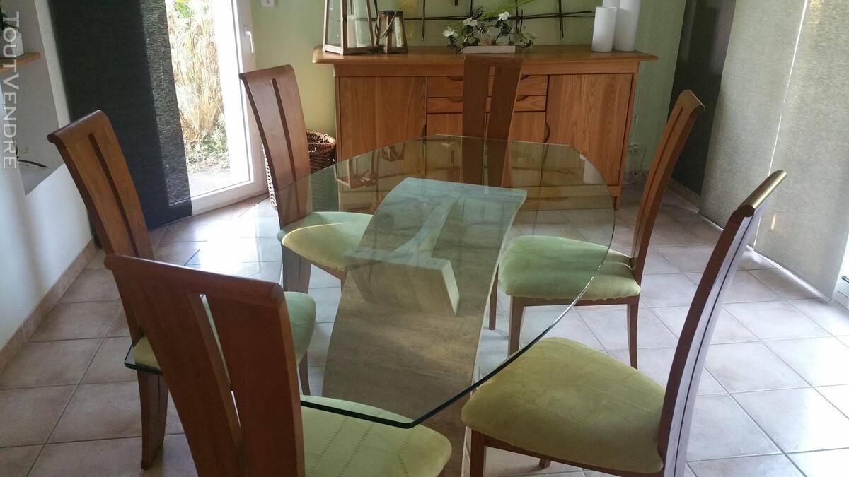 Salle à manger orme massif + table en verre & travertin 426226183