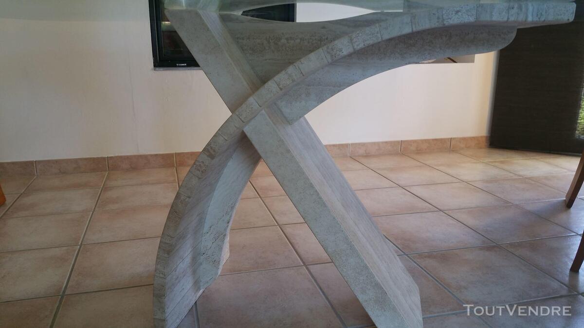 Salle à manger orme massif + table en verre & travertin 426226318