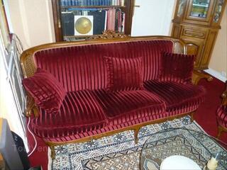 Salon complet style Louis XV , velours et cannage.