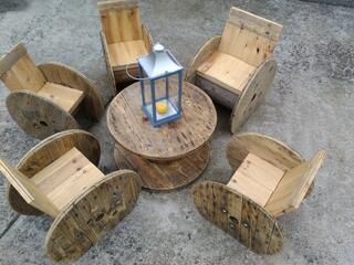 Salon de jardin a partir de touret en bois