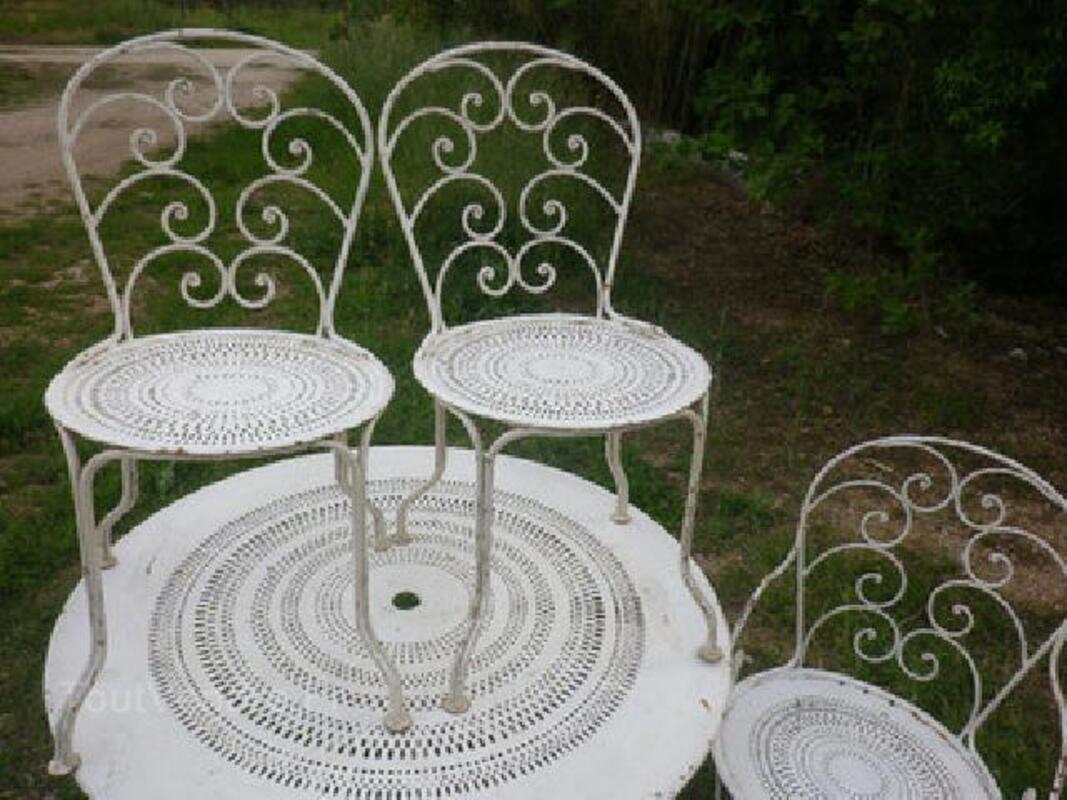 Salon de jardin ancien, 2 chaises 2 fauteuils, superbe! 92578759