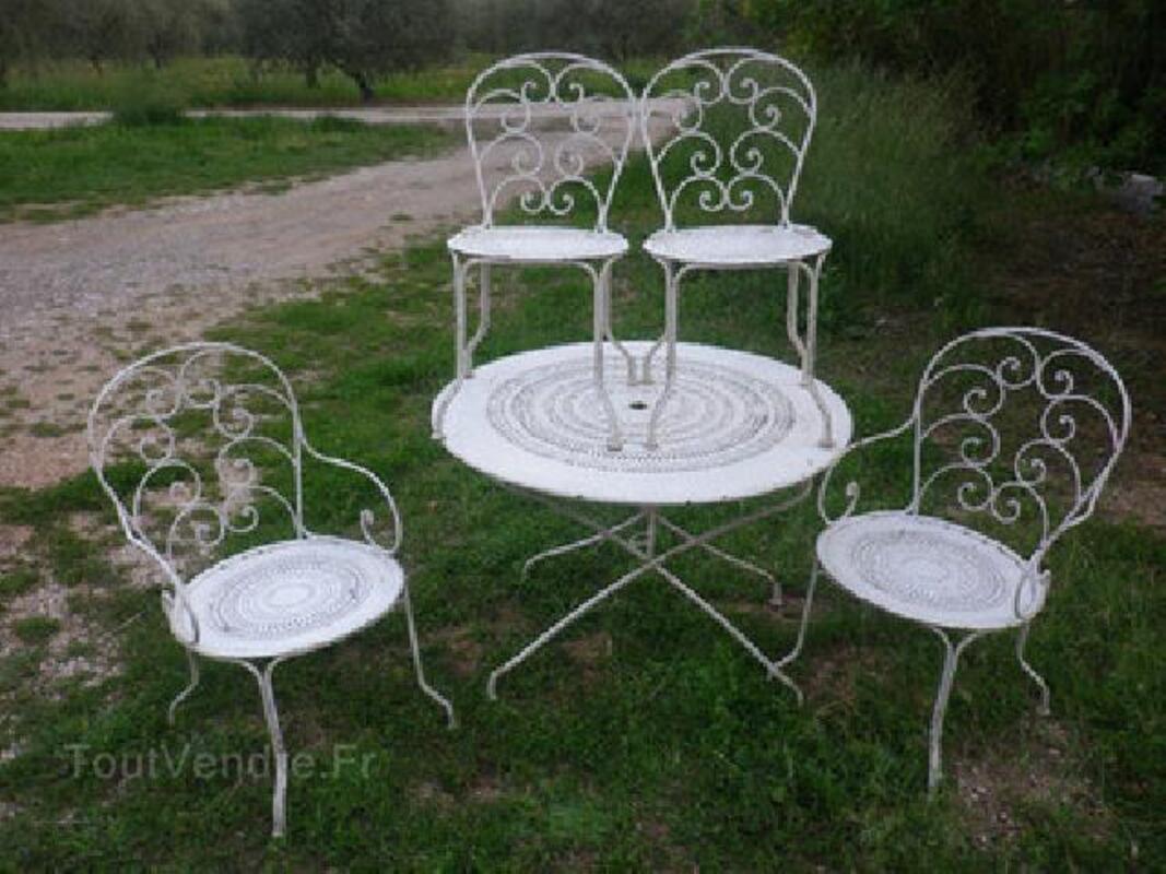 Salon de jardin ancien, 2 chaises 2 fauteuils, superbe! 92578760