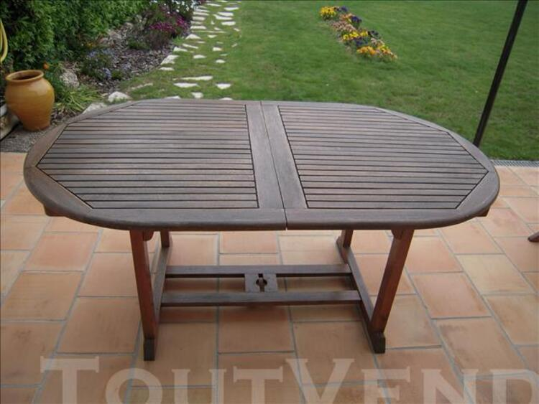 Salon de jardin :table + 4 fauteuils en teck 77358133