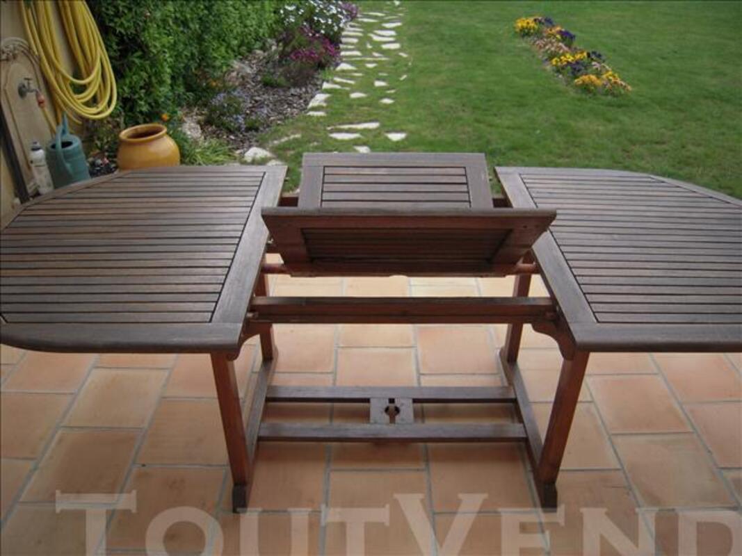Salon de jardin :table + 4 fauteuils en teck 77358134