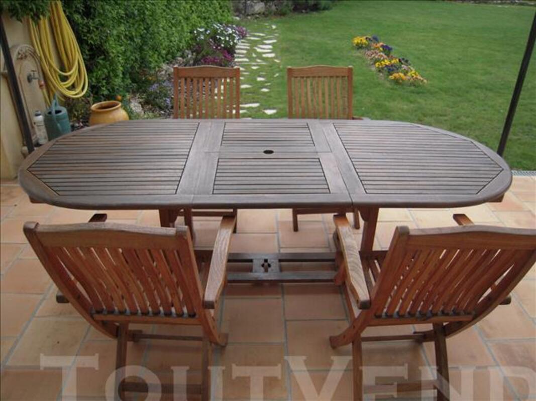 Salon de jardin :table + 4 fauteuils en teck 77358135