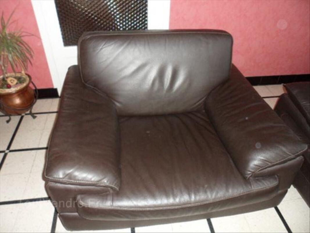 Salon en cuir véritable marron foncé 56365495