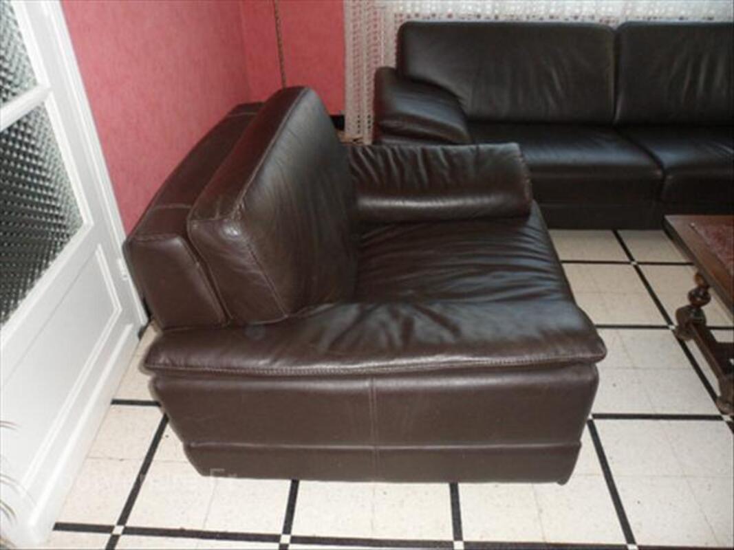 Salon en cuir véritable marron foncé 56365496