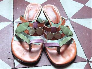 Sandales en CUIR (couleur : vert, orange, rose) T39