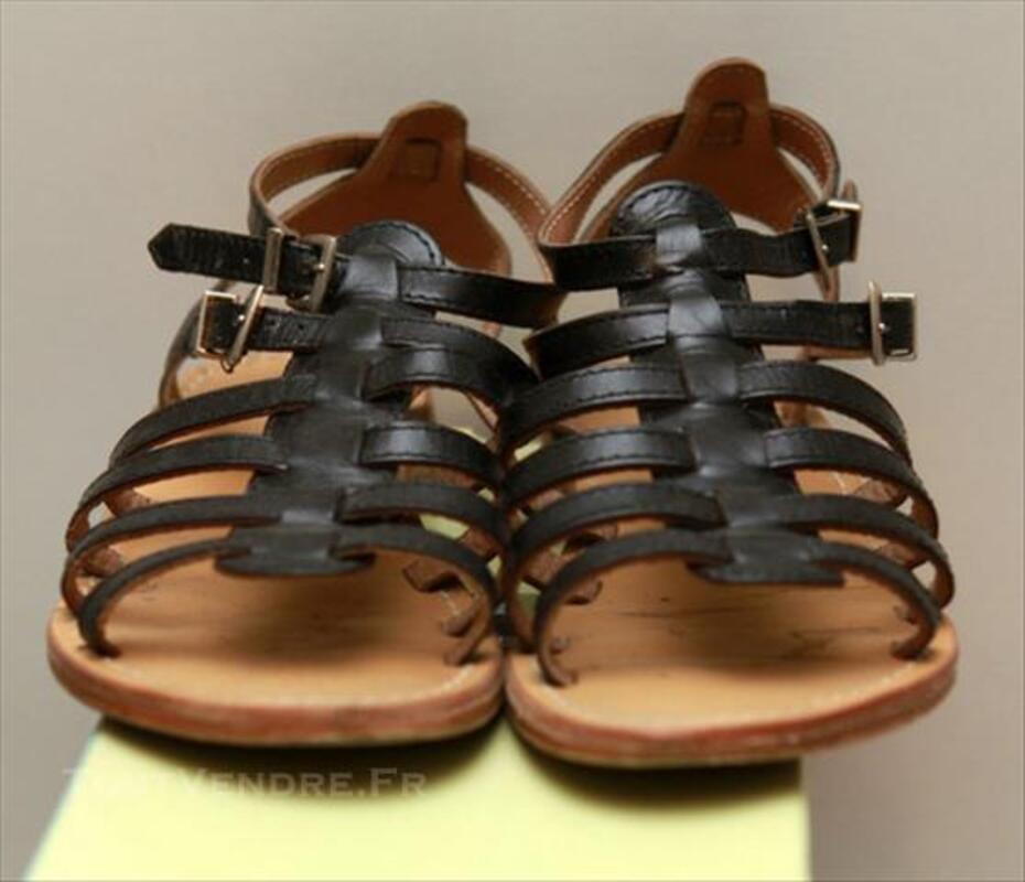 Sandales les tropeziennes noir en cuir taille 36 85253955