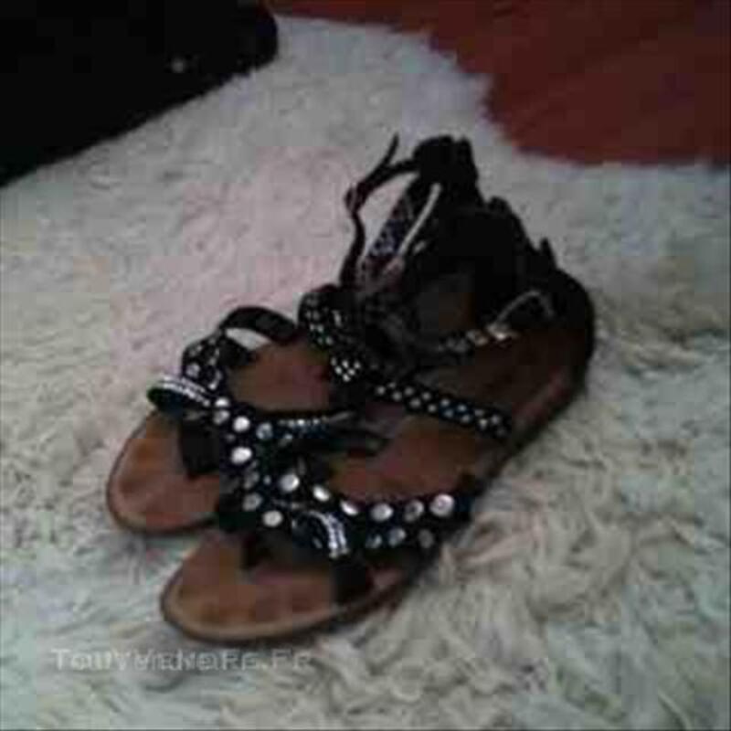Sandales Tropéziennes noires à paillettes 45836555