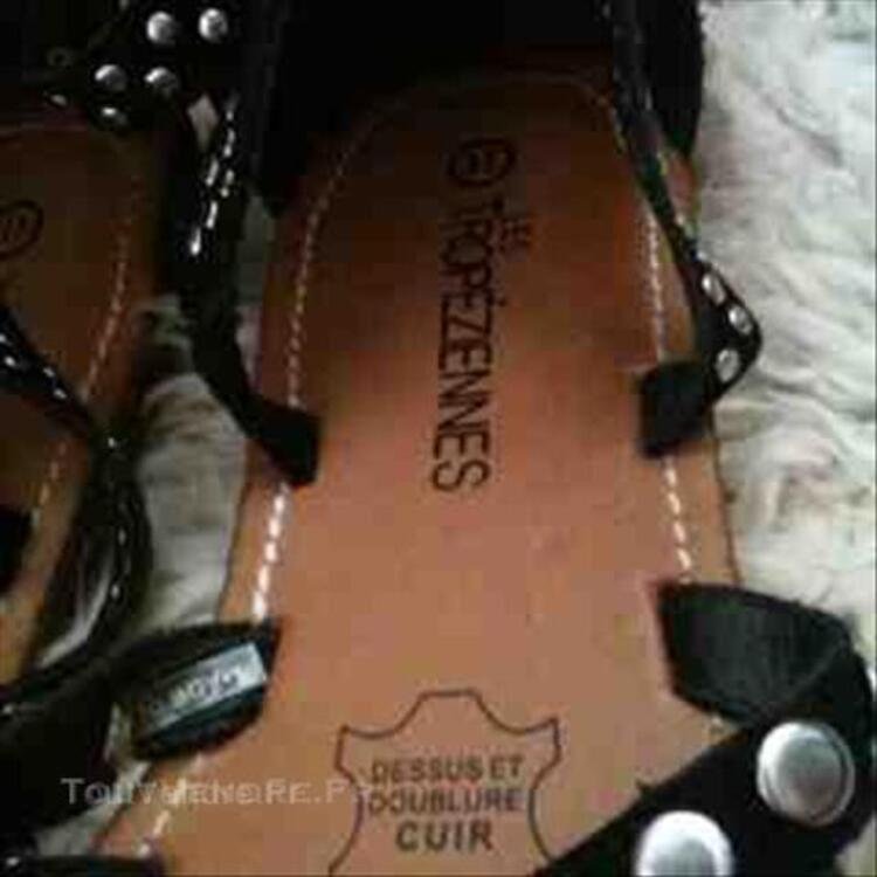 Sandales Tropéziennes noires à paillettes 45836556