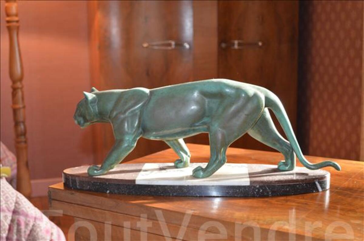 Sculpture art déco panthère Leduck Bronze 1930 101333222