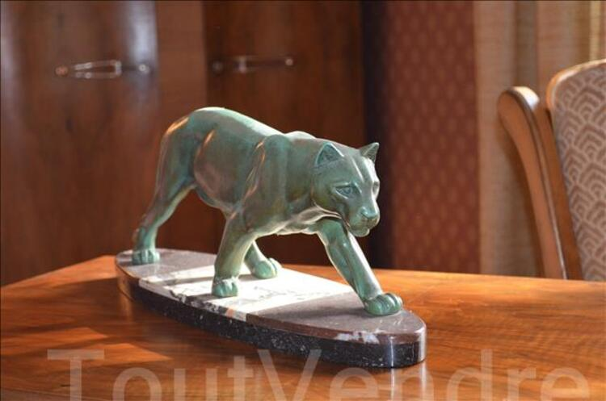 Sculpture art déco panthère Leduck Bronze 1930 101333329