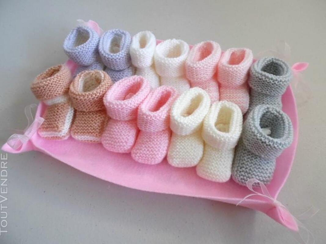 Semainier de chaussons bébé tricot laine fait main 326731937