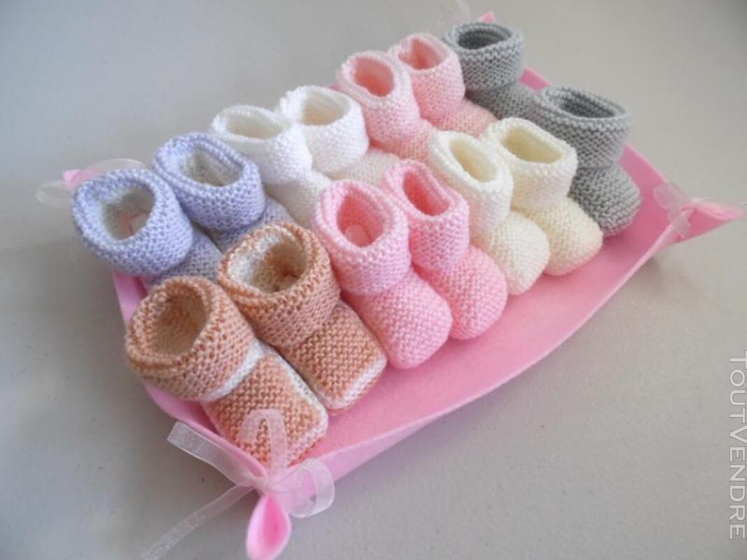 Semainier de chaussons bébé tricot laine fait main 326731940