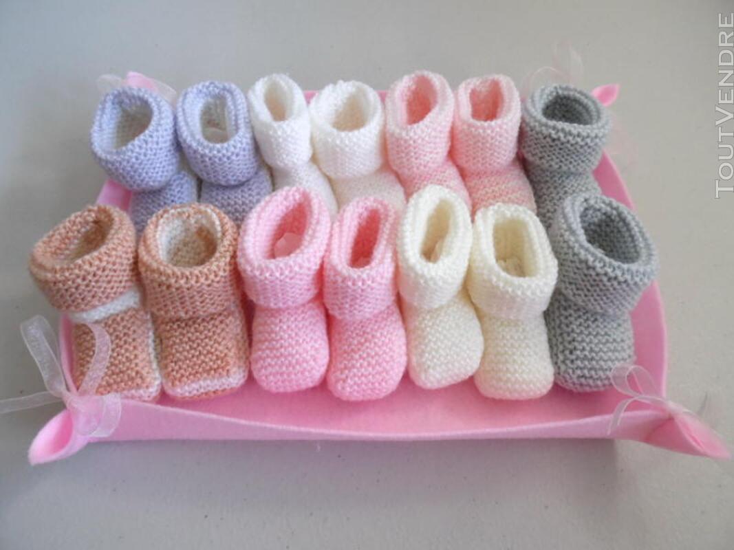 Semainier de chaussons bébé tricot laine fait main 326731964
