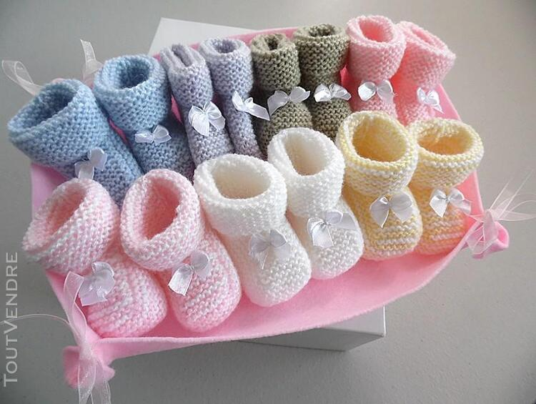 Semainier de chaussons tricot laine bébé fait main 168286467