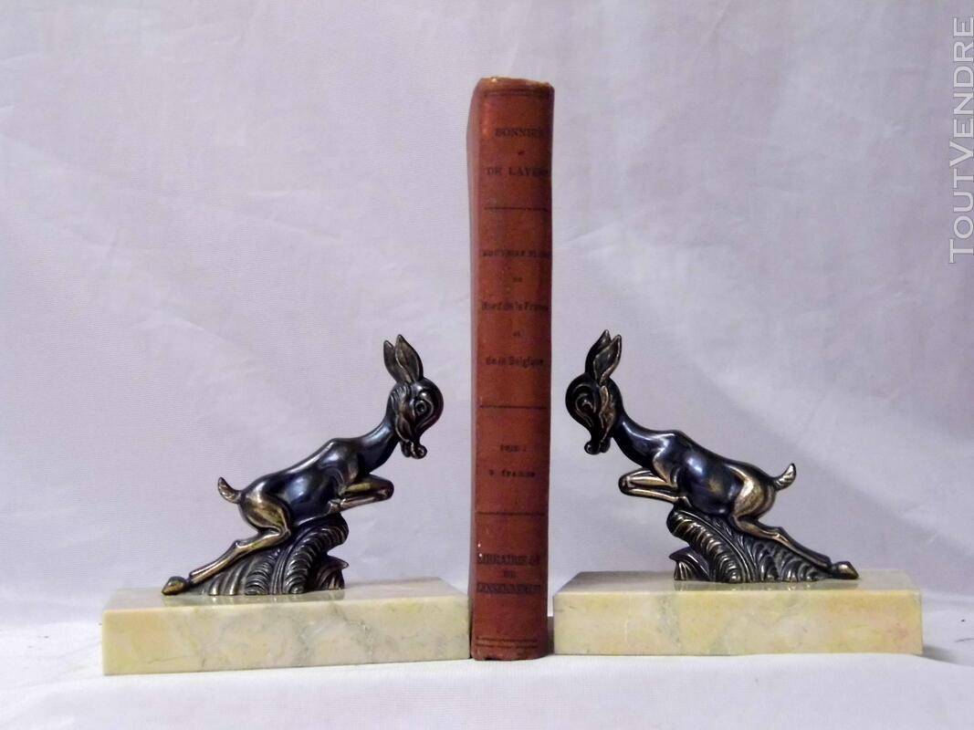 Serre livre art deco régule marbre biche faon cerf 194441286