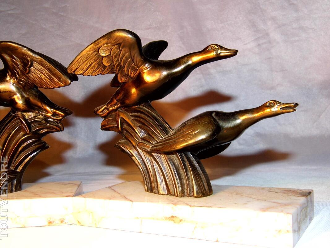Serre livre art deco régule marbre chasse oiseaux 130407623
