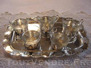 SERVICE A CAFE METAL ARGENTE 6TASSES
