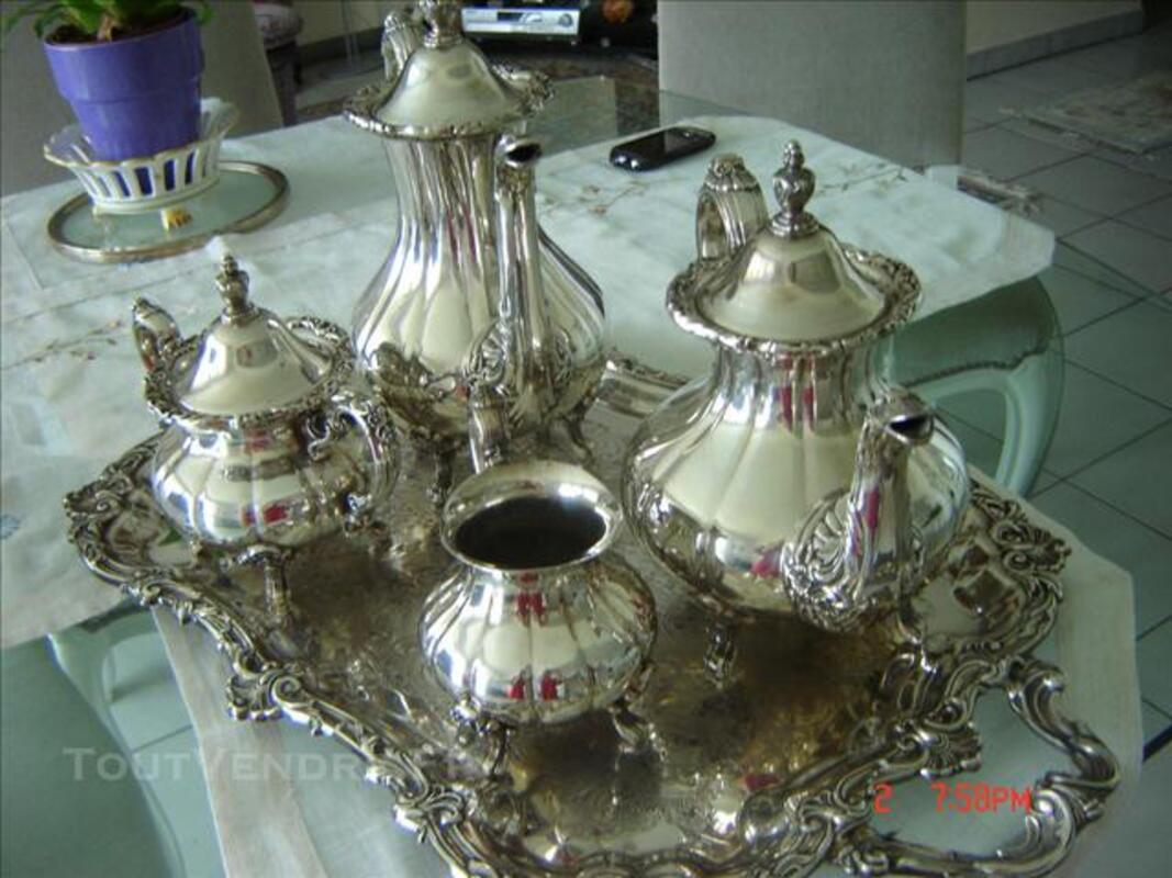 Service à thé et à café avec plateau métal argenté 75917474