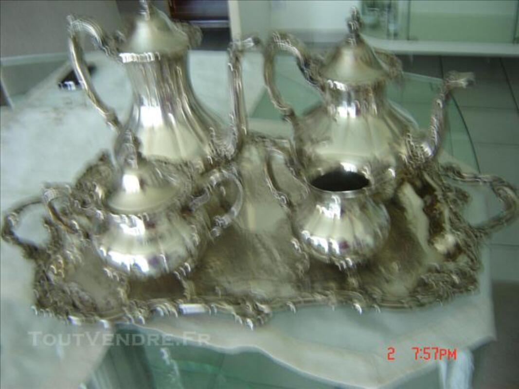 Service à thé et à café avec plateau métal argenté 75917475