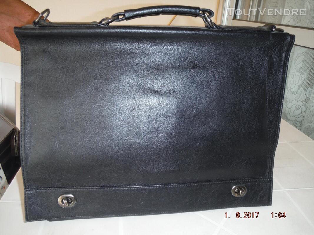 Serviette cartable à 2 soufflets en cuir vachette souple - a 308686490