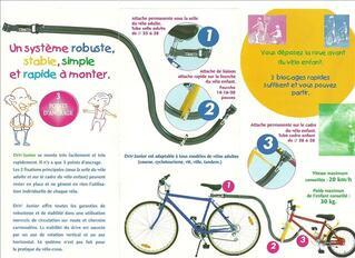 Siège vélo suiveur remorque enfant de FABRICATION FRANCAISE
