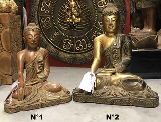 Statue de Bouddha assis en bois : H: 42 et 52 cm