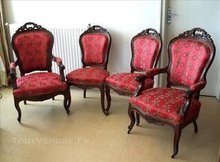 Suite 2 fauteuils & 2 chaises, Baroque en acajou 19ème