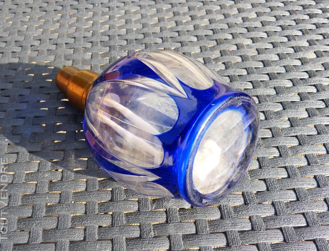 Superbe Lampe Berger complète en verre bleu taillé 297053686
