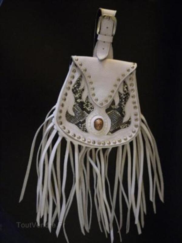 SUPERBE sac - sacoche en cuir blanc à lanières 56232180