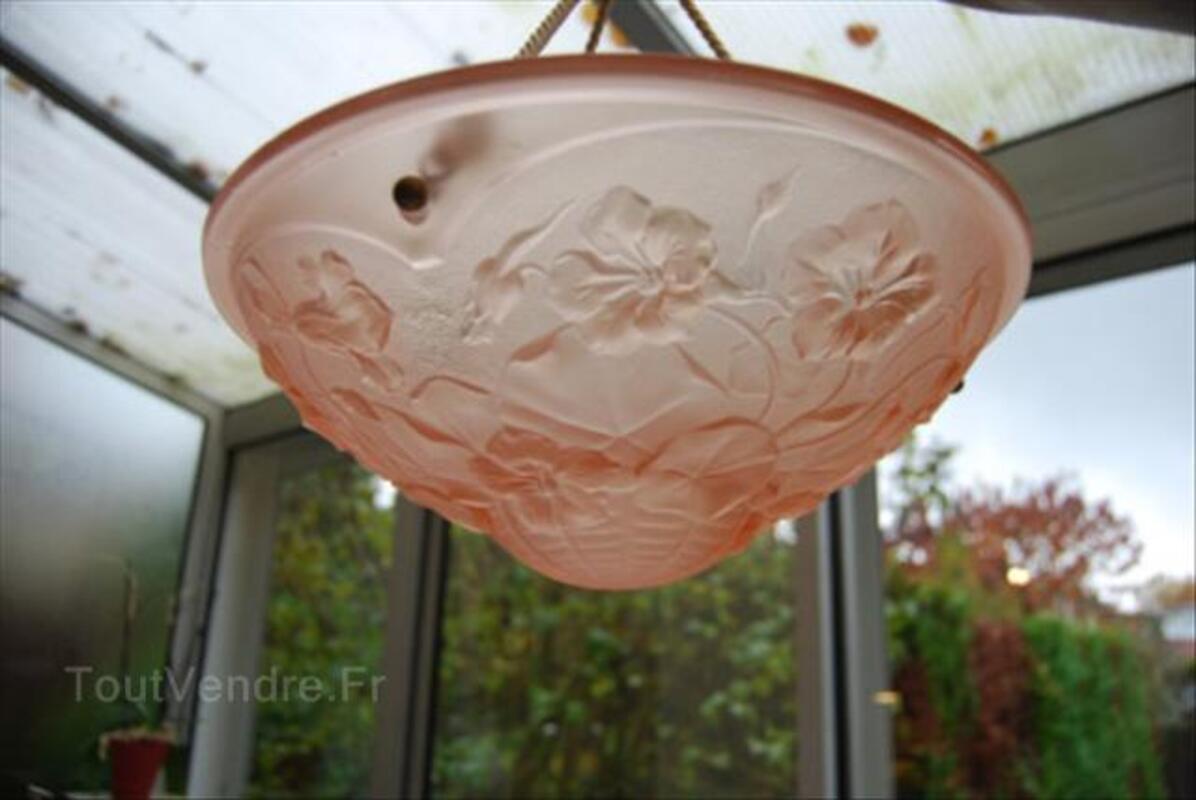 Suspension Art Déco Pate de verre Rose 1930 55961255