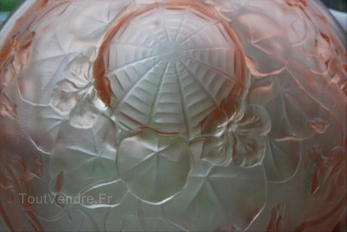 Suspension Art Déco Pate de verre Rose 1930 55961257
