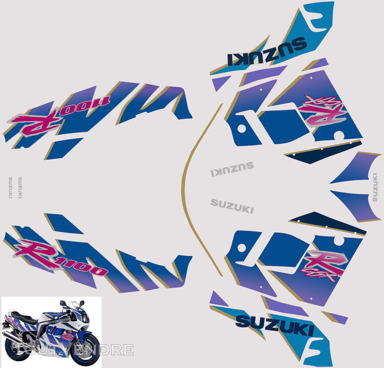 Suzuki GSX R 1100 1992 Kit déco stickers 664255081