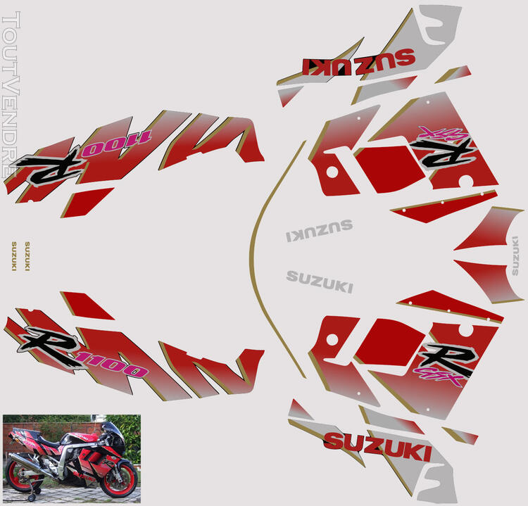 Suzuki GSX R 1100 1992 Kit déco stickers 664255087