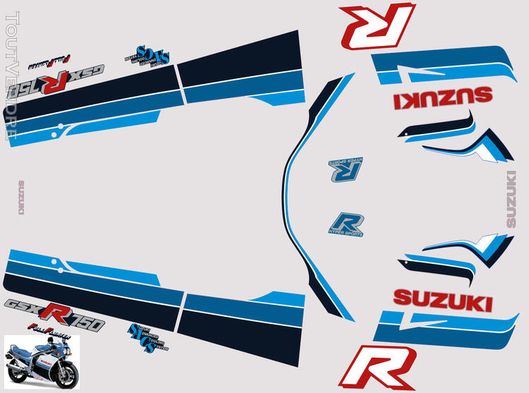 Suzuki GSX R 750 1986 Kit déco stickers 629883227