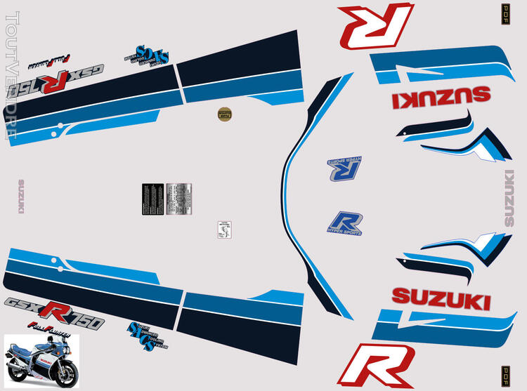 Suzuki GSX R 750 1986 Kit déco stickers 629884940