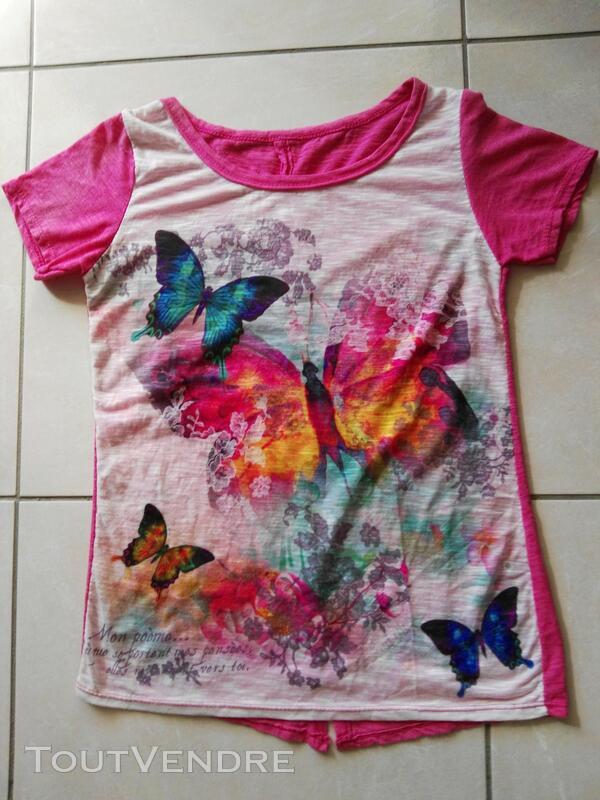 T-shirt avec des papillons, fushia et blanc 558493593