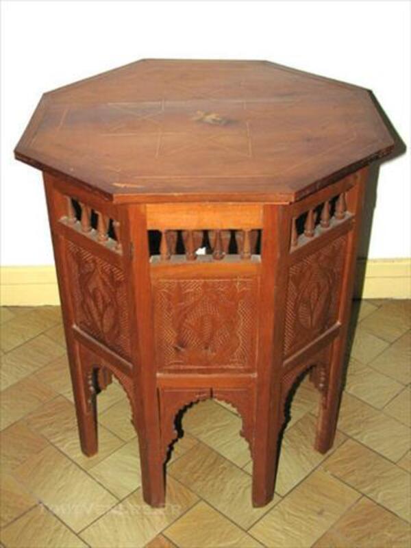 Table à Thé Marocaine Arabesque Marqueterie Sculptée 86201941