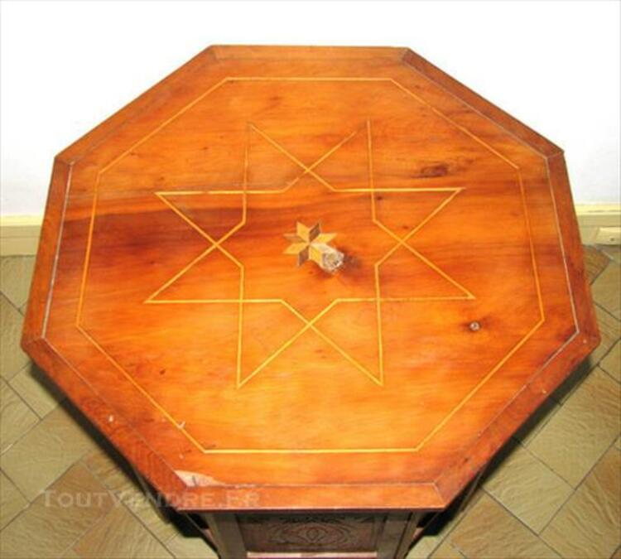 Table à Thé Marocaine Arabesque Marqueterie Sculptée 86201942