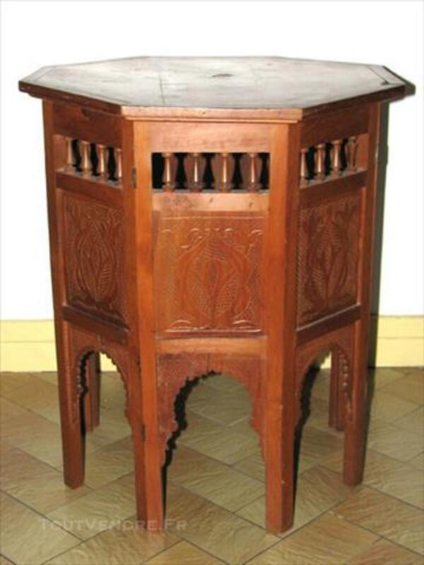 Table à Thé Marocaine Arabesque Marqueterie Sculptée 86201943