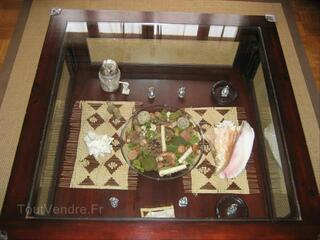 TABLE BASSE ACAJOU STYLE COLONIAL 90/90 cm