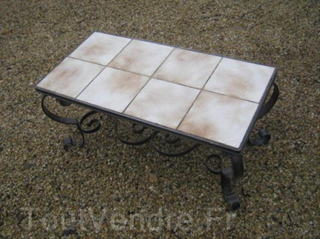 TABLE BASSE CARREAUX ET FER FORGE STYLE VIEILLOT 56353150