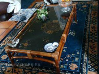 TABLE BASSE ET FAUTEUILS BOBOIS ET ROCHE EN BAMBOU