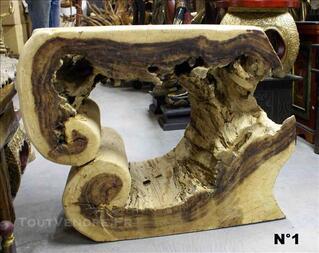 TABLE basse originale en bois - H: 58 à 63 cm