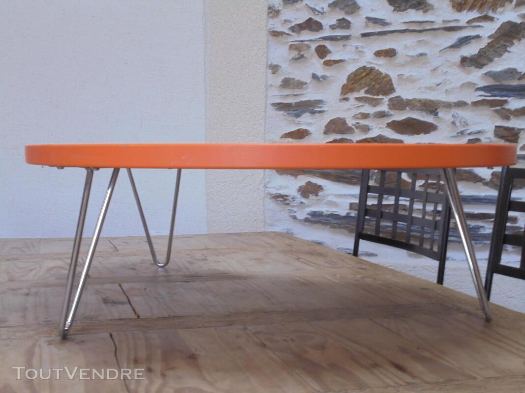 Table basse vintage année 70 orange 290509090